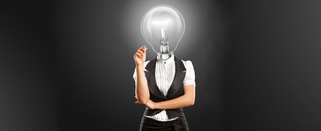 woman in business with light bulb head banner